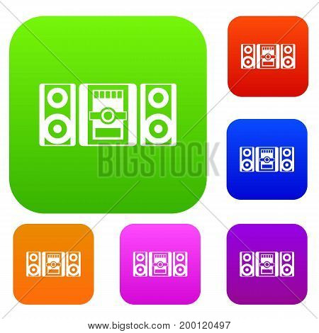 Music center set icon in different colors isolated vector illustration. Premium collection