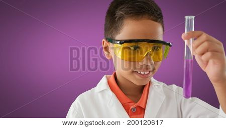 Digital composite of Boy scientist with test tube and purple background