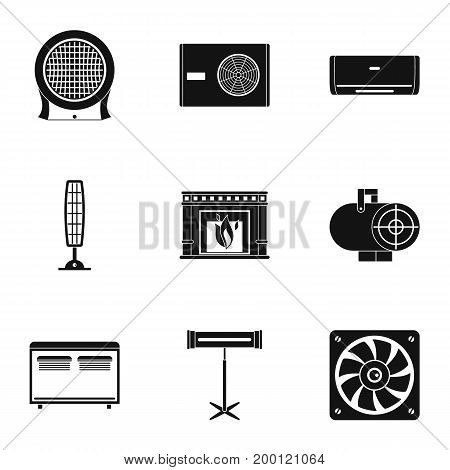 House heater icon set. Simple style set of 9 house heater vector icons for web isolated on white background