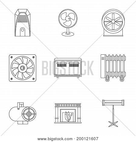 Conditioning icon set. Outline style set of 9 conditioning vector icons for web isolated on white background