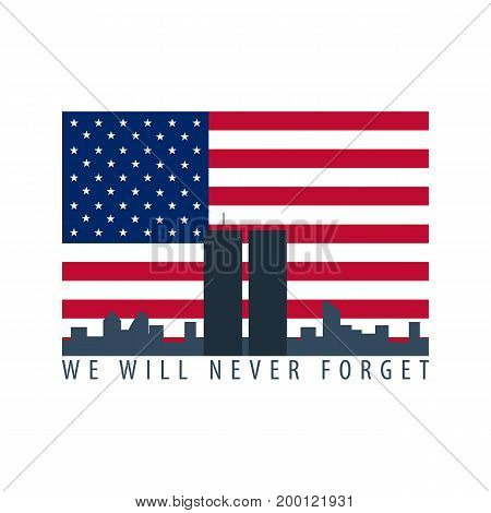 Patriot Day Emblems Or Logo. September 11. We Will Never Forget.