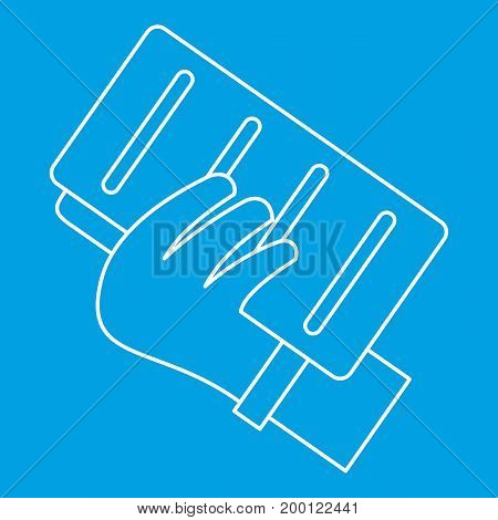 Documents icon blue outline style isolated vector illustration. Thin line sign