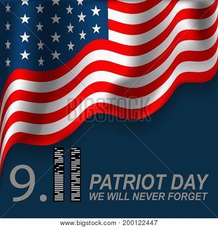 Patriot Day. September 11. We will never forget. Vector illustration