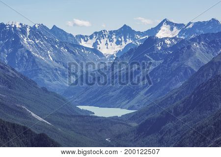 View of the lake Karateurek. Peaks of the Altai Mountains. Russian landscape