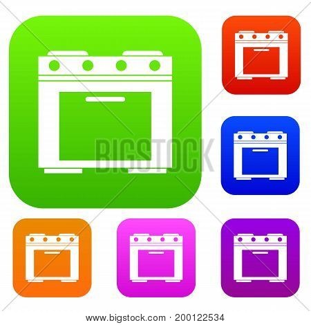 Gas stove set icon in different colors isolated vector illustration. Premium collection
