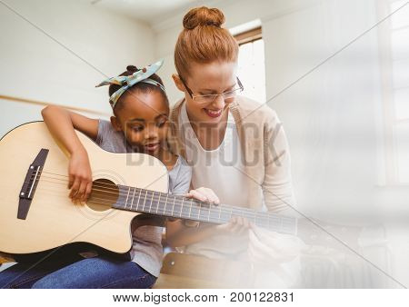 Digital composite of Music teacher with student