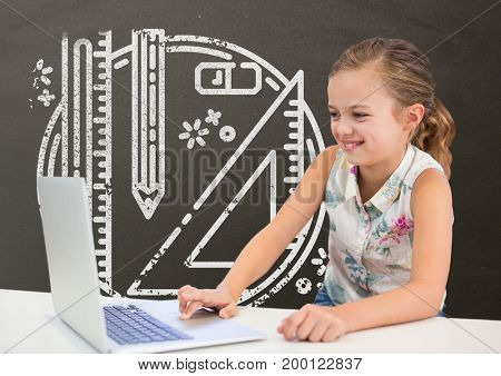 Digital composite of Happy student girl at table using a computer against grey blackboard with school and education graph