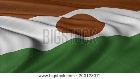 3D illustration of Niger flag fluttering in light wind.