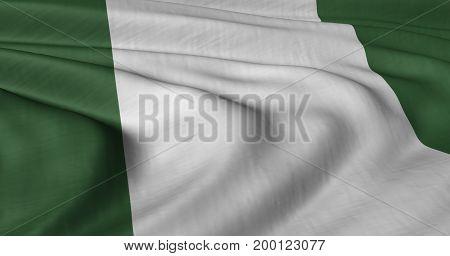 3d illustration of Nigerian flag fluttering in strong wind.