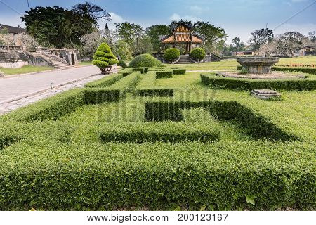 Gardens in the Royal City of Hue. Tomb of Khai Dinh emperor in Hue Vietnam. A UNESCO World Heritage Site. Hue Vietnam
