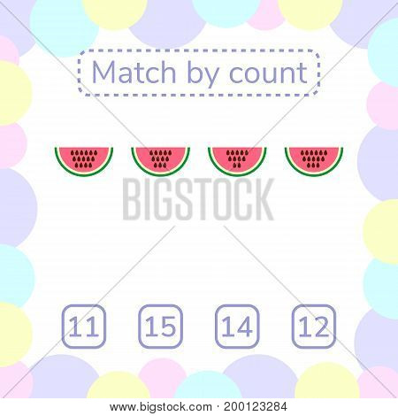 vector illustration. counting game for preschool children. mathematical game. count the items in the picture and choose the right answer. rebus for children. watermelon seeds