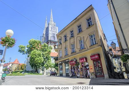 ZAGREB, CROATIA - JULY 17, 2017: The street of Tome Bakaca leading to the Zagreb cathedral. City of Zagreb is the capital of Croatia.