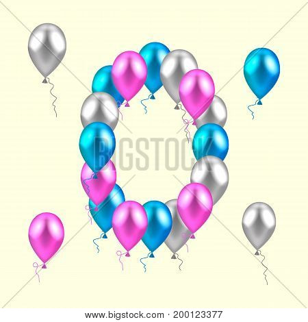vector illustration. realistic colored balloons. zero, null pink silver blue