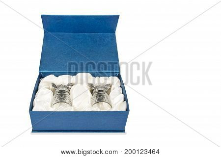Gift set of two decorative glasses for vodka isolated on white background