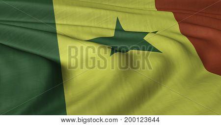 3D illustration of Senegal flag fluttering in light wind.