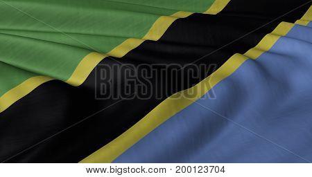 3D illustration of Tanzanian flag fluttering in light wind.