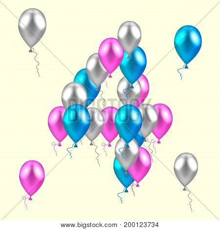 vector illustration. realistic colored balloons on the fourth birthday. pink, silver, blue