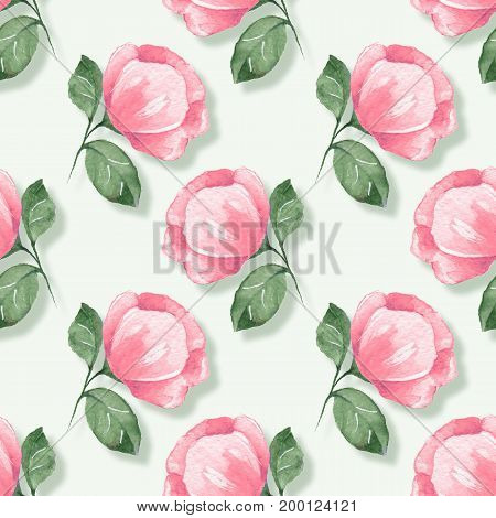 Floral seamless pattern. Watercolor background with pink flowers