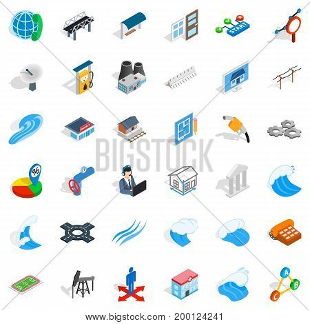 Electricity operator icons set. Isometric style of 36 electricity operator vector icons for web isolated on white background