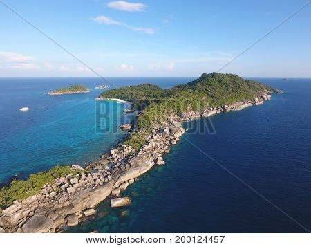 Beautiful Similan Island Number 4 Aerial View. Andaman Sea, Thailand