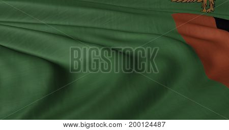 3D Illustration of Zambian flag fluttering in lightwind.