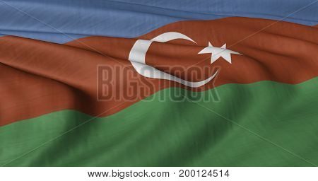 3D Illustration of Azerbaijan flag fluttering in strong wind. Category Asia stock graphics.