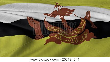 3D Illustration of Brunei flag fluttering in strong wind. Category Asia stock graphics.