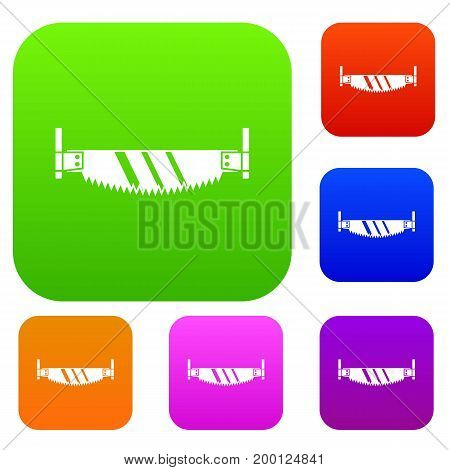 Two handled saw set icon in different colors isolated vector illustration. Premium collection