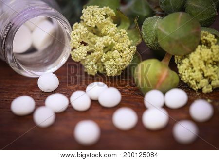 Homeopathy globules with some herbs on wooden surface