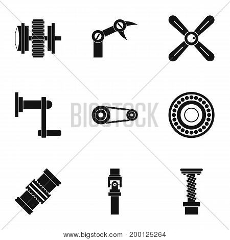 Machinery gear icon set. Simple style set of 9 machinery gear vector icons for web isolated on white background