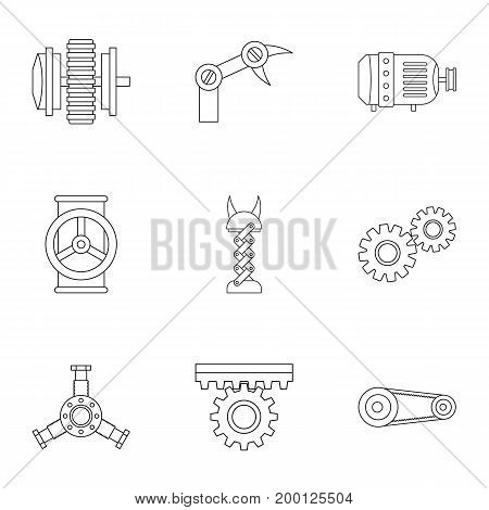 Mechanism parts icon set. Outline style set of 9 mechanism parts vector icons for web isolated on white background