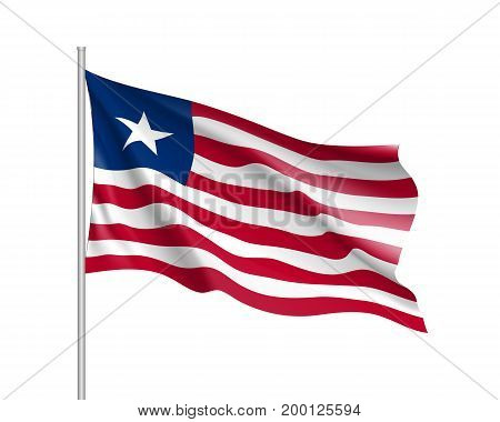 Liberia flag. Illustration of African country waving flag on flagpole. Vector 3d icon isolated on white background. Realistic illustration