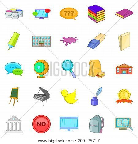 Student icons set. Cartoon set of 25 student vector icons for web isolated on white background