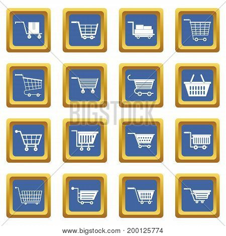 Shopping cart icons set in blue color isolated vector illustration for web and any design