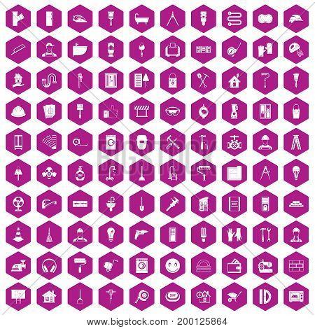100 renovation icons set in violet hexagon isolated vector illustration