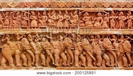 Terracotta Design in wall of popular Kantajew Temple of 18 Century in Bangladesh