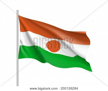 Niger flag. Illustration of African country waving flag on flagpole. Vector 3d icon isolated on white background. Realistic illustration