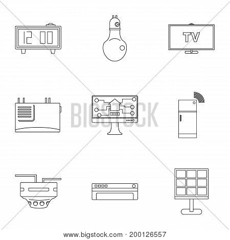 Smart home icon set. Outline style set of 9 smart home vector icons for web isolated on white background