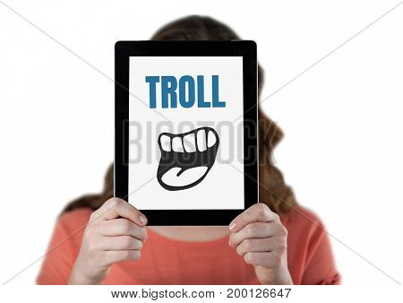 Digital composite of Troll text with cartoon mouth on tablet over womans face