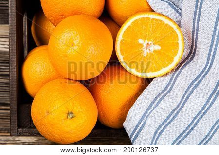 Fresh oranges in a crate