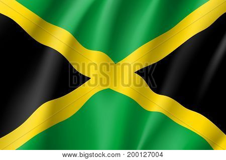 Flag Jamaica realistic icon. State insignia of the nation in realistic style on the entire page. Waving state flag. National symbol in the form of a vector illustration
