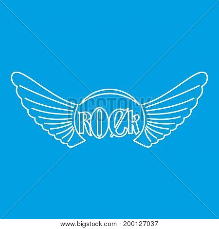 Rock icon blue outline style isolated vector illustration. Thin line sign