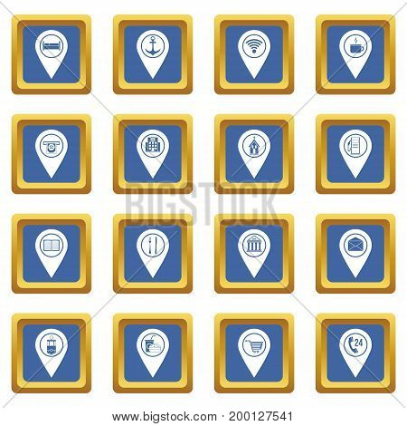 Points of interest icons set in blue color isolated vector illustration for web and any design