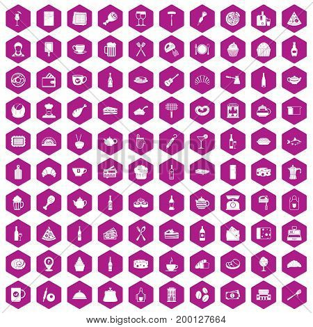 100 restaurant icons set in violet hexagon isolated vector illustration