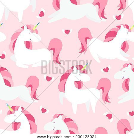 Magic Unicorn with rainbow horn and flying hearts with wings seamless pink pattern. Modern fairytale endless textures, magical repeating backgrounds. Cute baby backdrops. Vector illustration