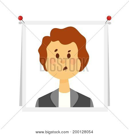 Young woman with brown hair in business suit at pictures pinned to white Board. Photo for memory, reminder of emotions on white background. Cartoon flat style vector illustration