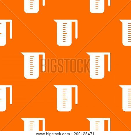 Measuring cup pattern repeat seamless in orange color for any design. Vector geometric illustration