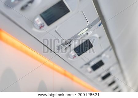 Passenger service unit in new modern aircraft.