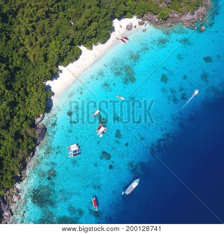 Similan Island Aerial View From Above. White Sandy Honeymoon Beach. Andaman Sea, Thailand. Travel, summer, vacation and tropical beach concept.