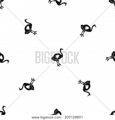 Ostrich pattern repeat seamless in black color for any design. Vector geometric illustration